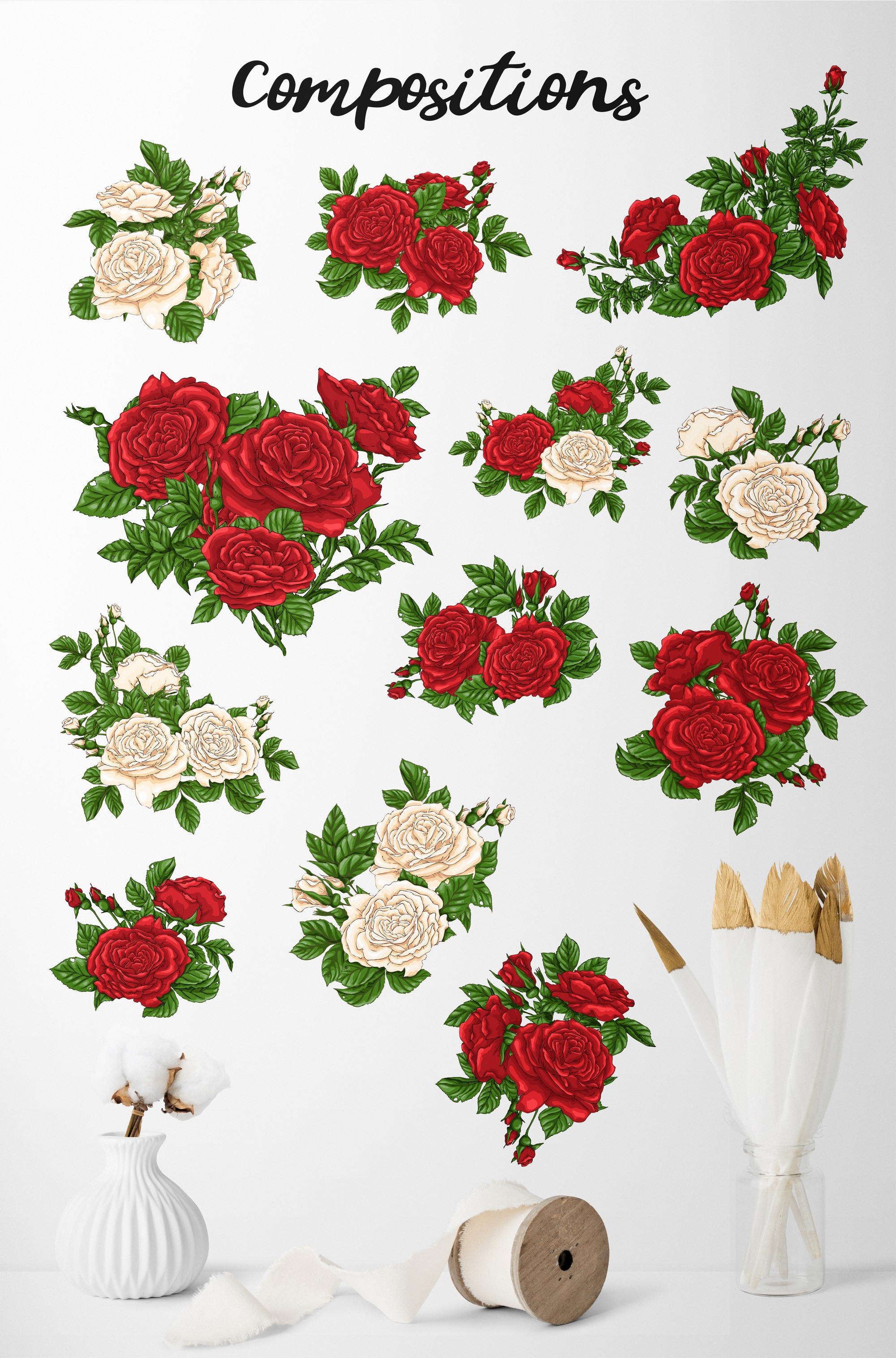 Roses – Vector Clip Art Set example image 10