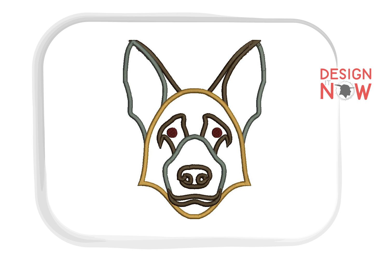 German Shepherd Dog Embroidery Design, Dog Applique Design example image 1