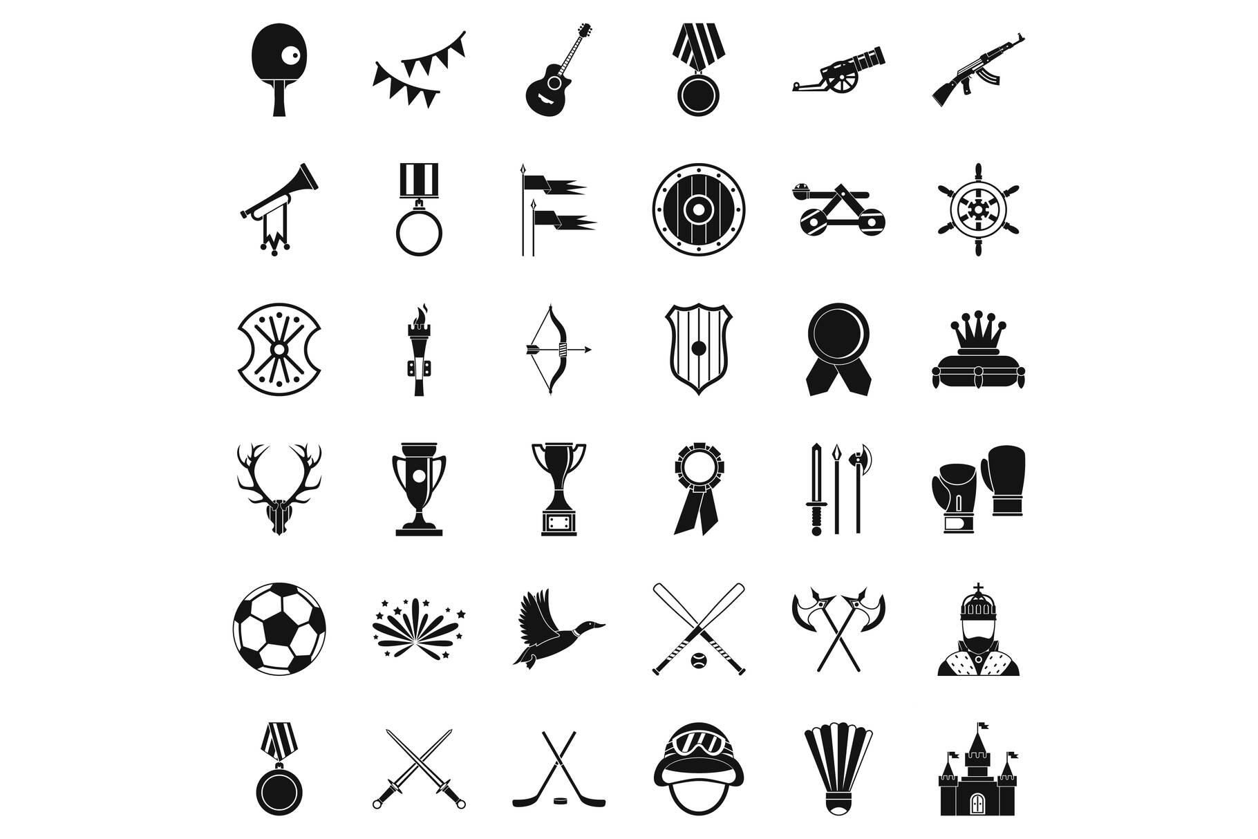 Award icons set, simple style example image 1
