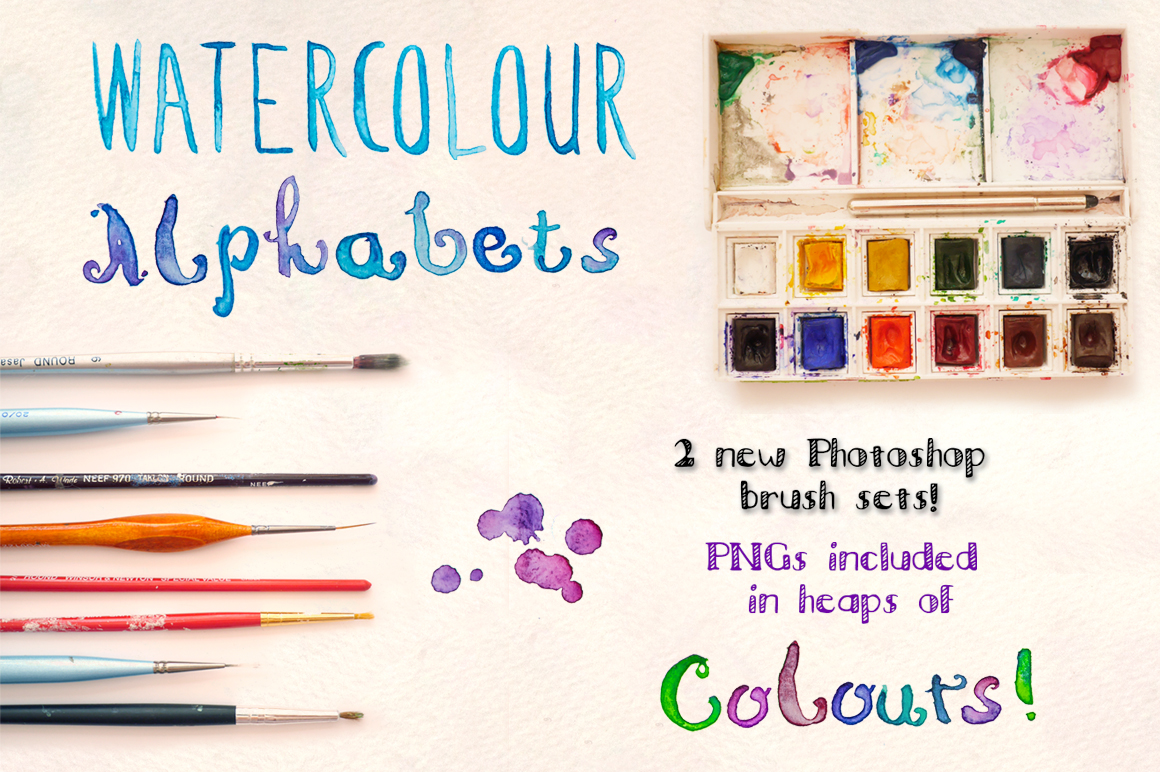 2 Watercolor Alphabet Hand Lettered Brush Sets example image 1