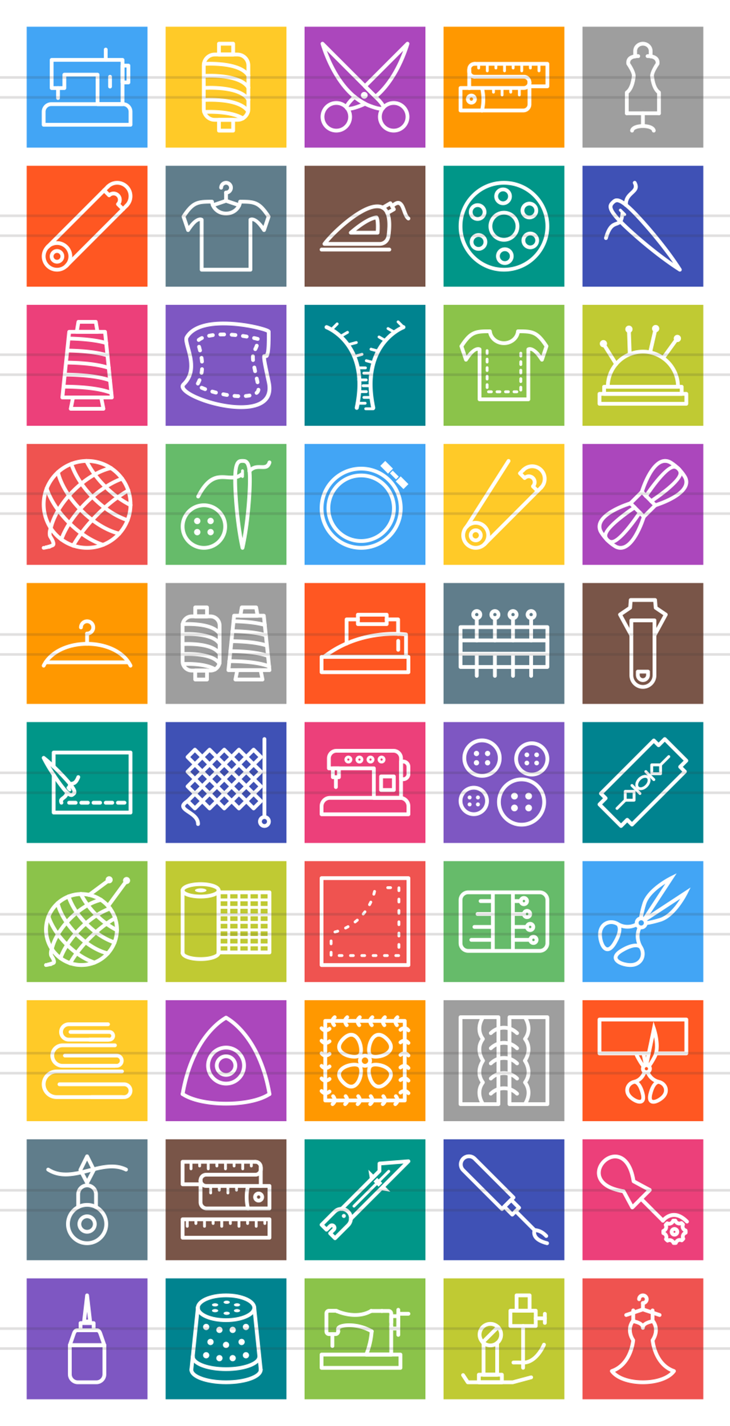 50 Sewing Line Multicolor B/G Icons example image 2