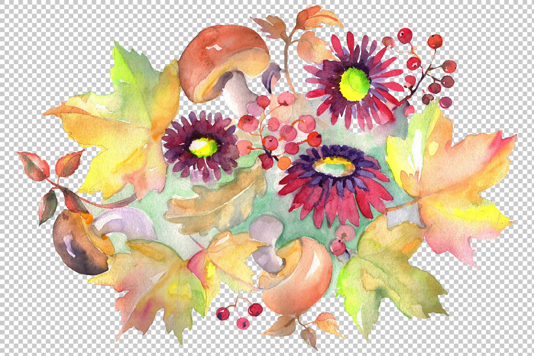 Bouquet with asters and mushrooms Watercolor png example image 2