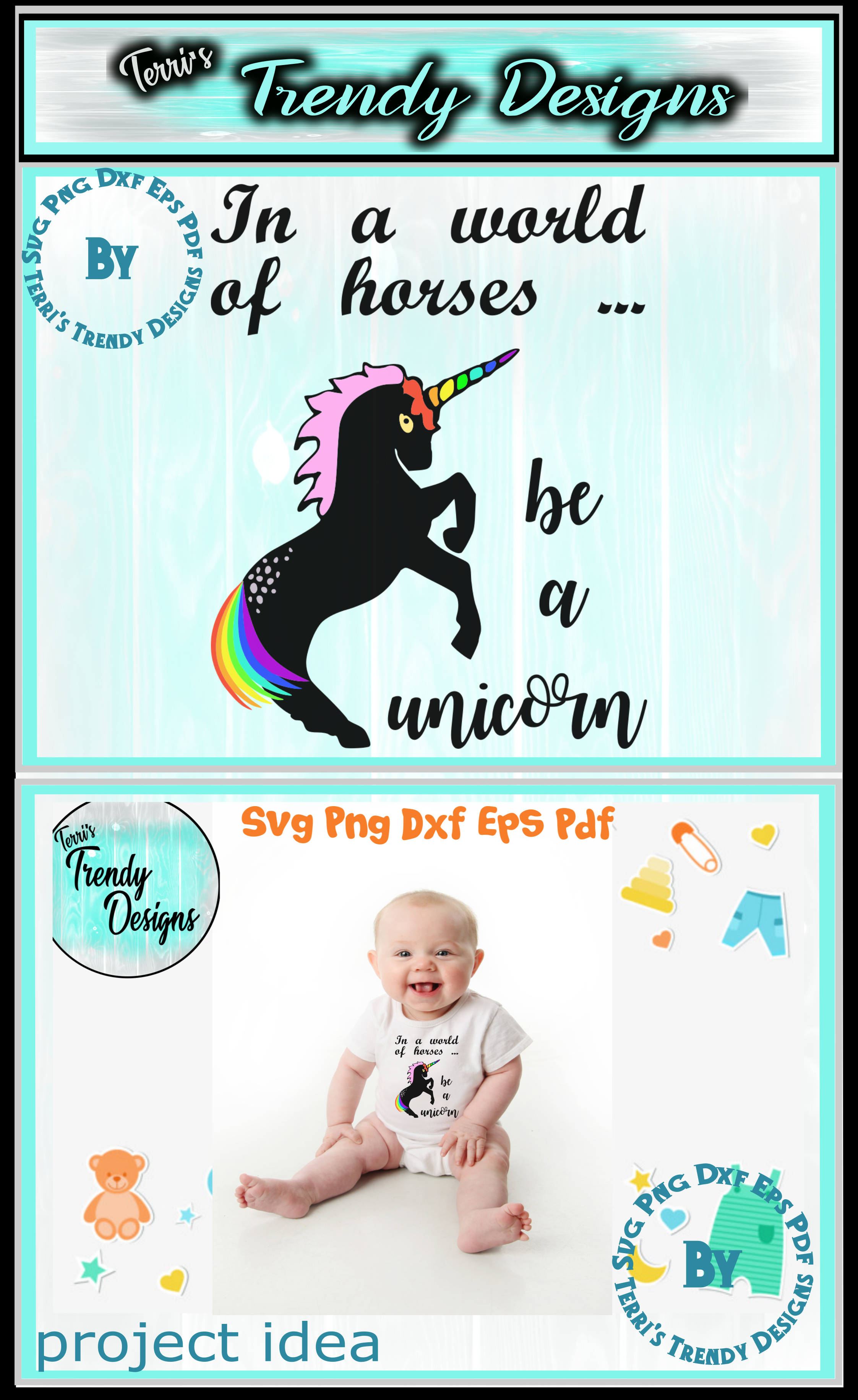Be a unicorn world of horses craft svg png dxf eps pdf example image 4