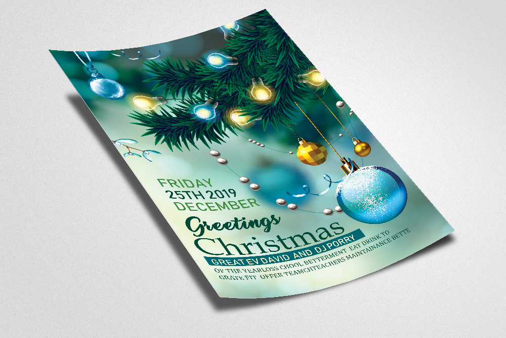 Merry Christmas Party Flyer Template example image 2
