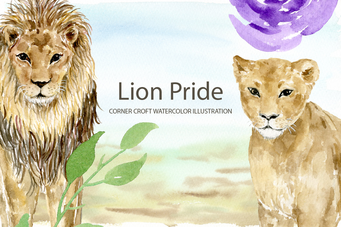 Watercolor clipart lion pride for instant download example image 4