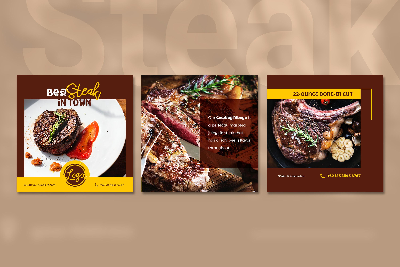 Steak Social Media Post - brown color theme example image 5