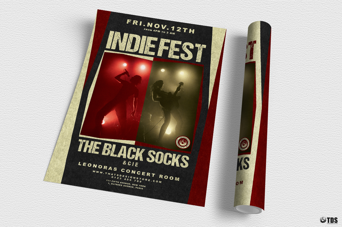 Indie Live Festival Flyer Template V4 example image 3