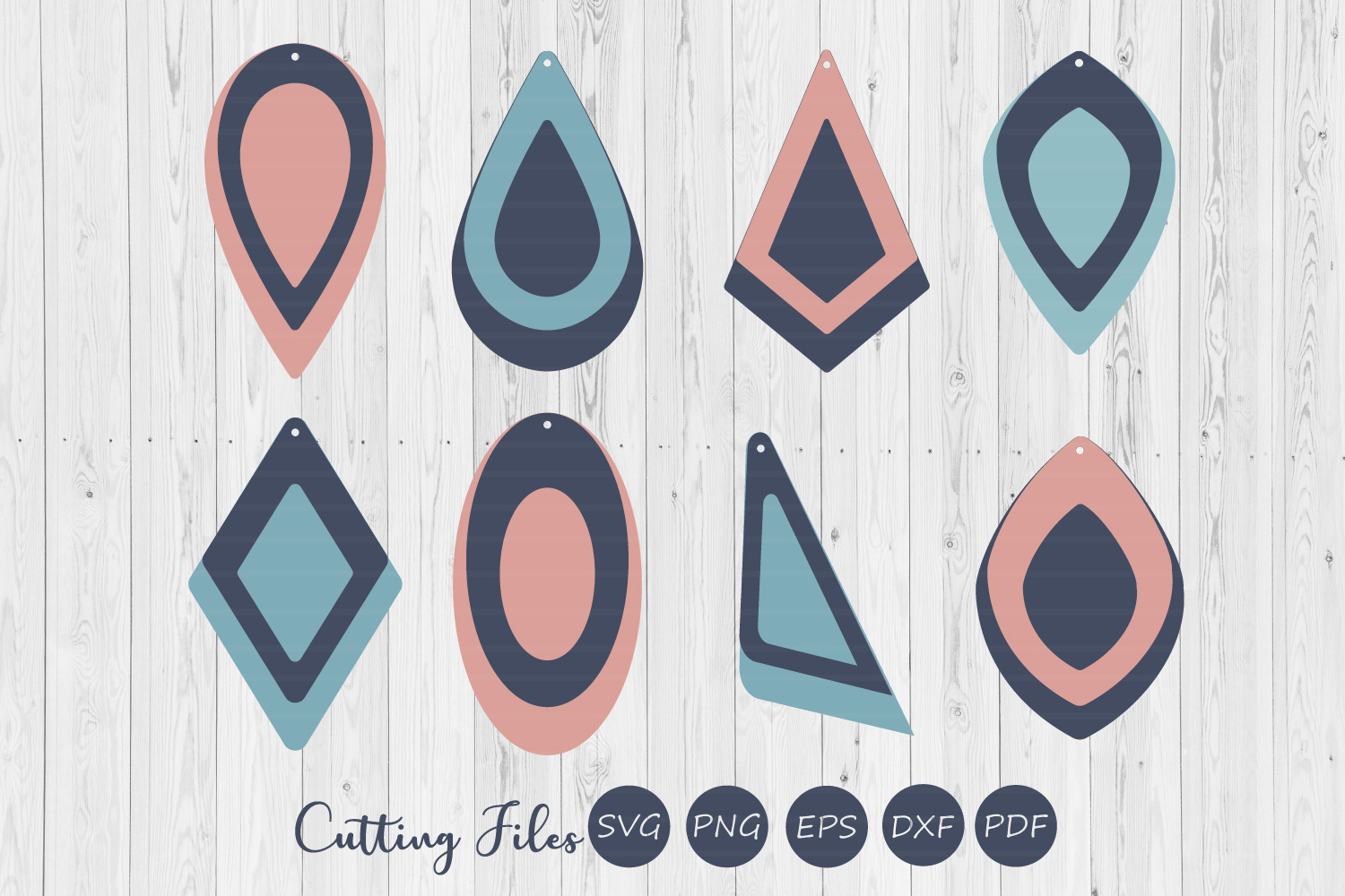 Stacked hollow earrings| SVG cutting files |Commercial use | example image 1