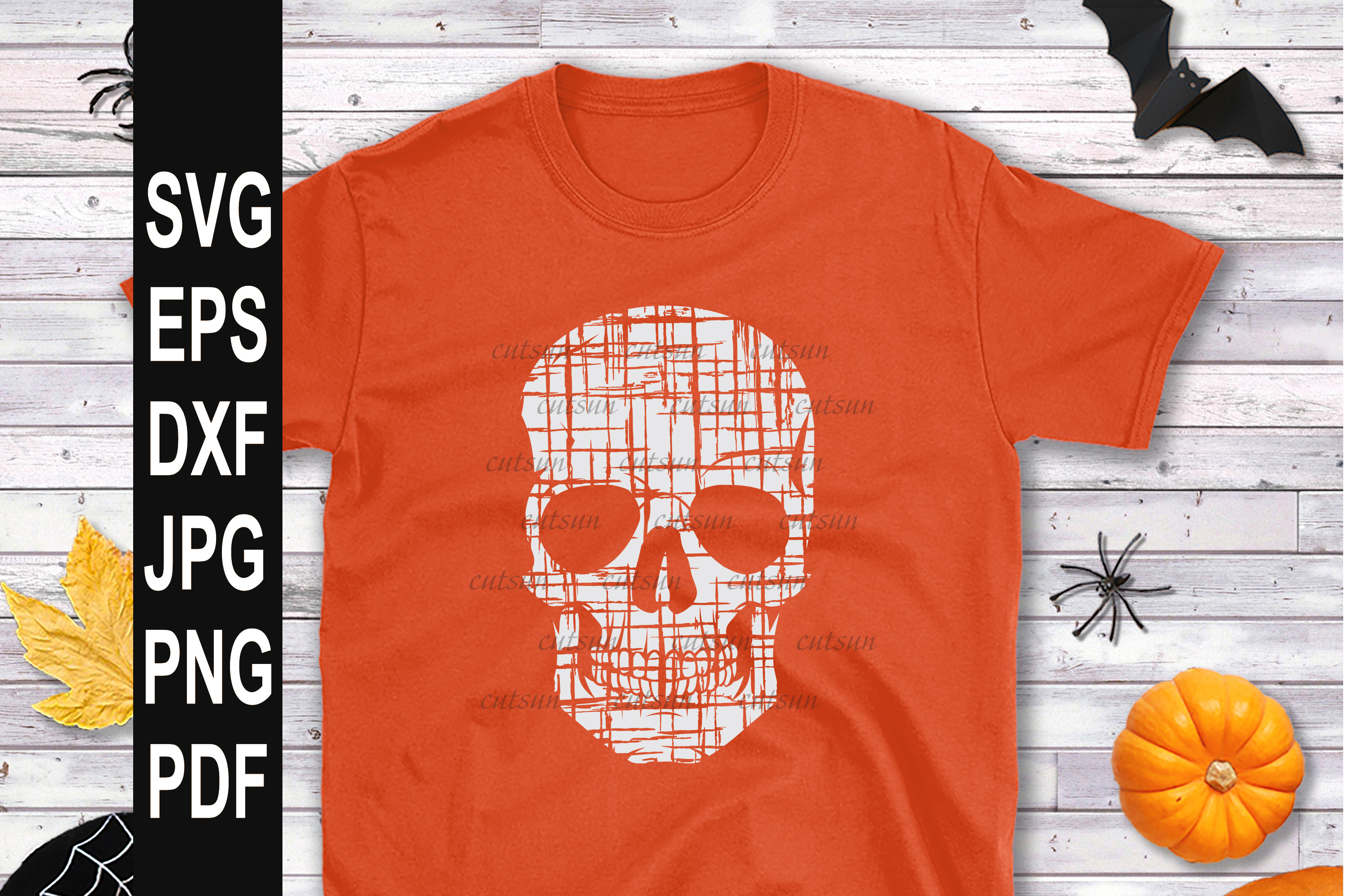Distressed skull SVG example image 3