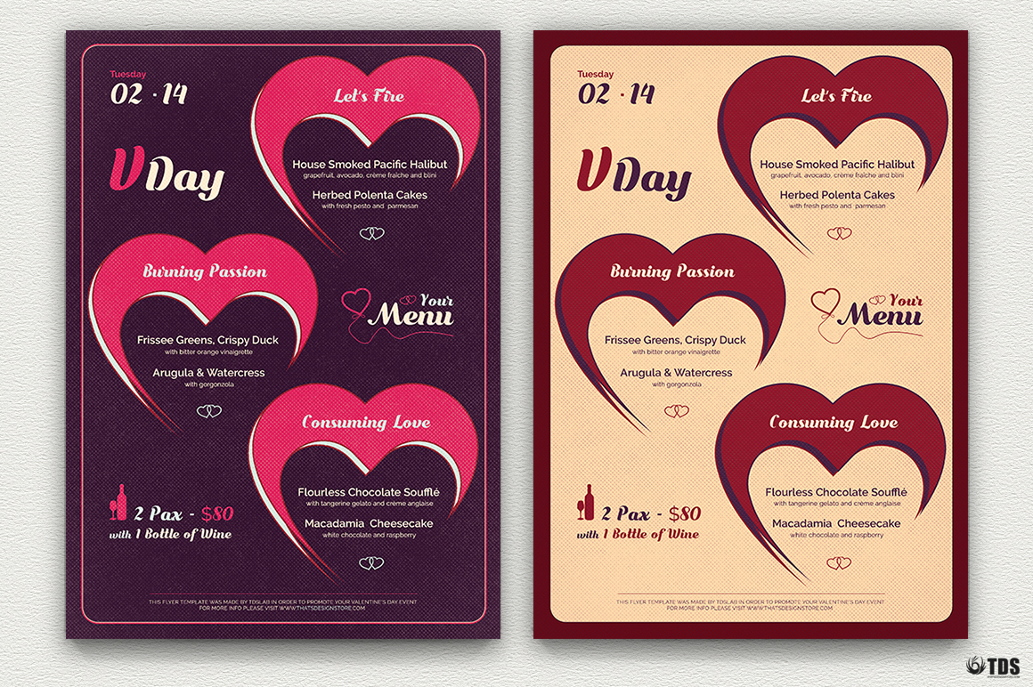 Valentines Day Menu Template V9 example image 2