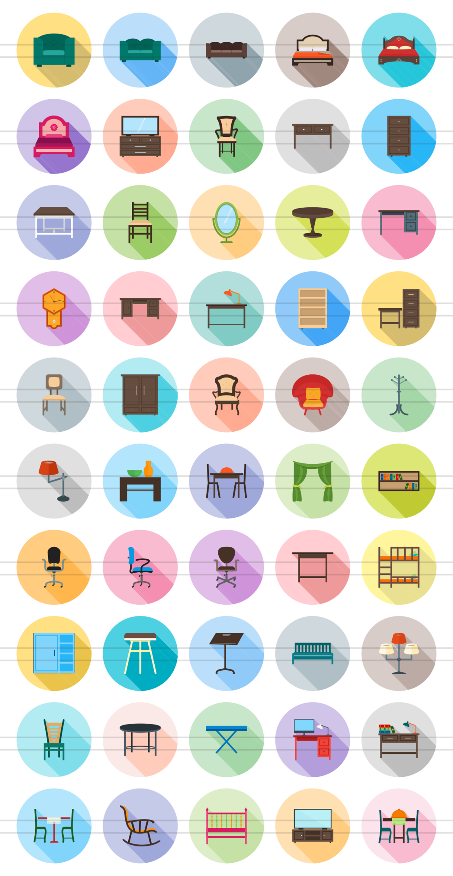 50 Furniture Flat Long Shadow Icons example image 2