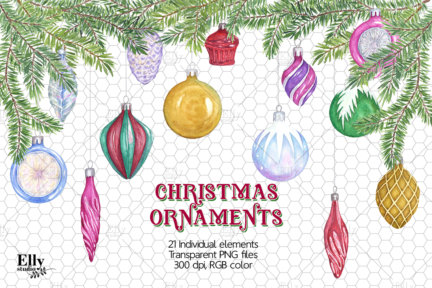 Clip Art Watercolor Christmas Ornaments