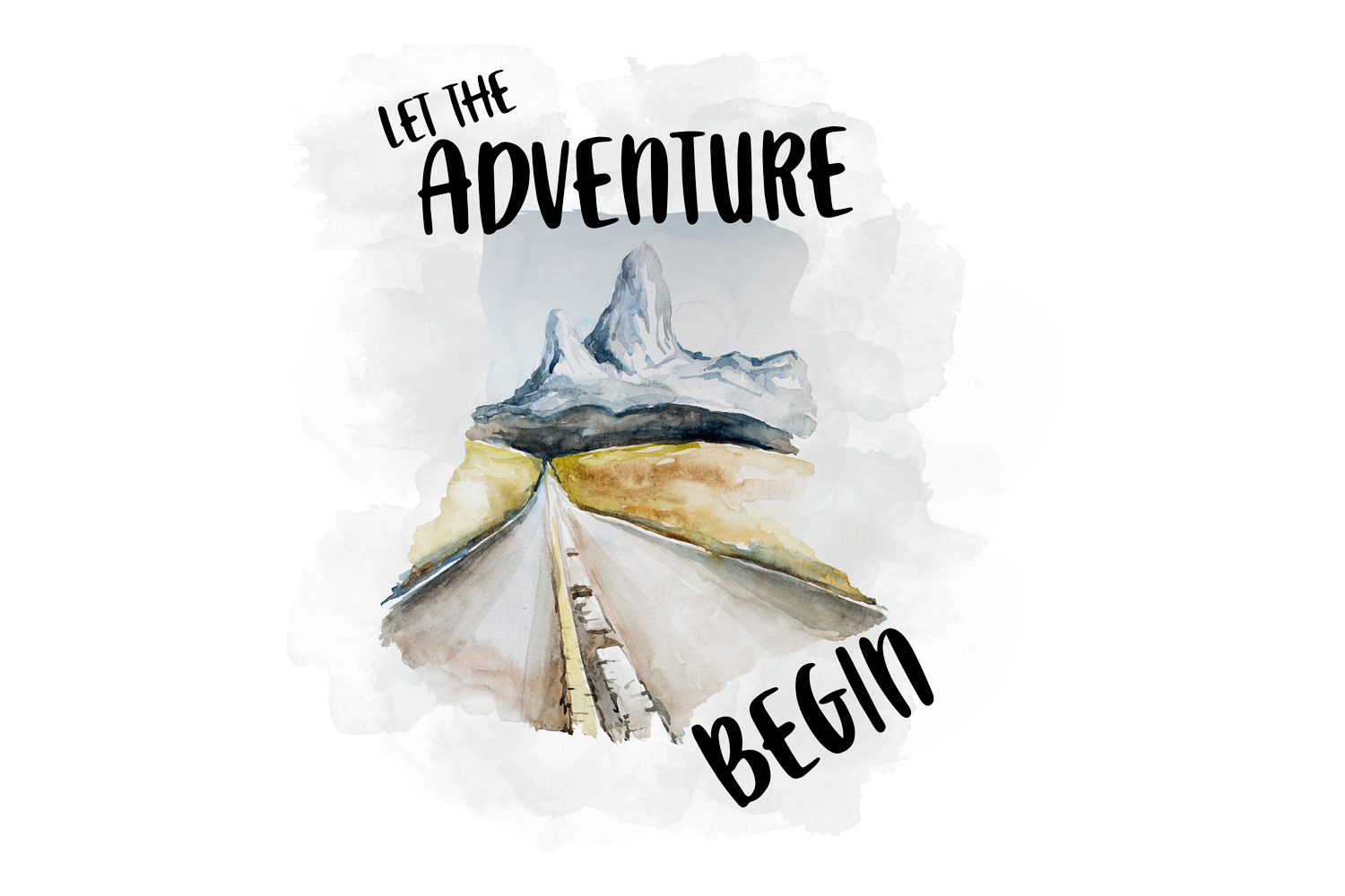 Let The Adventure Begin, Watercolor Clipart example image 1