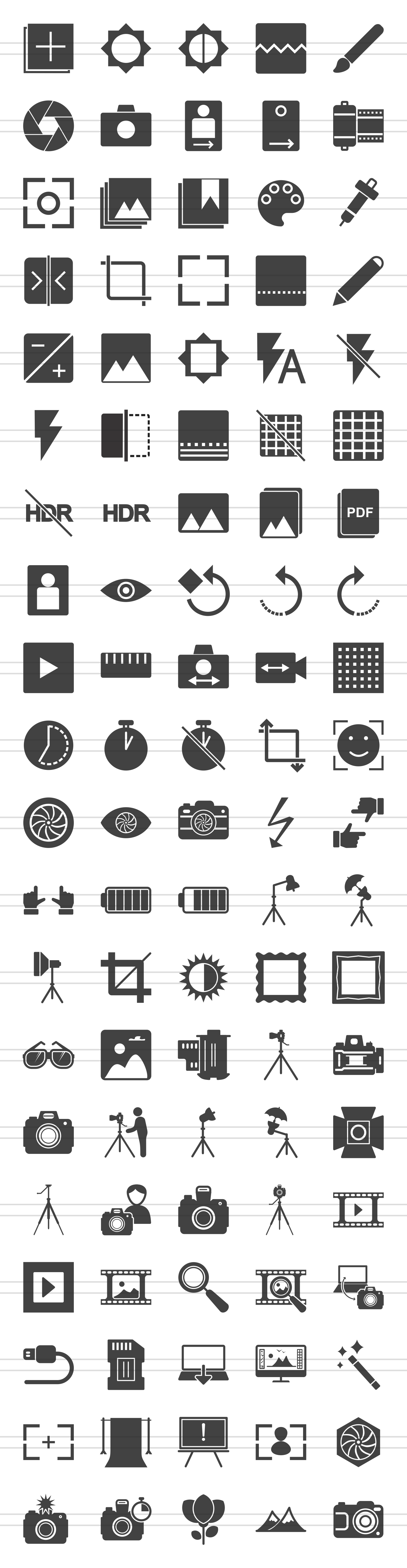 100 Photography & Picture Glyph Icons example image 2