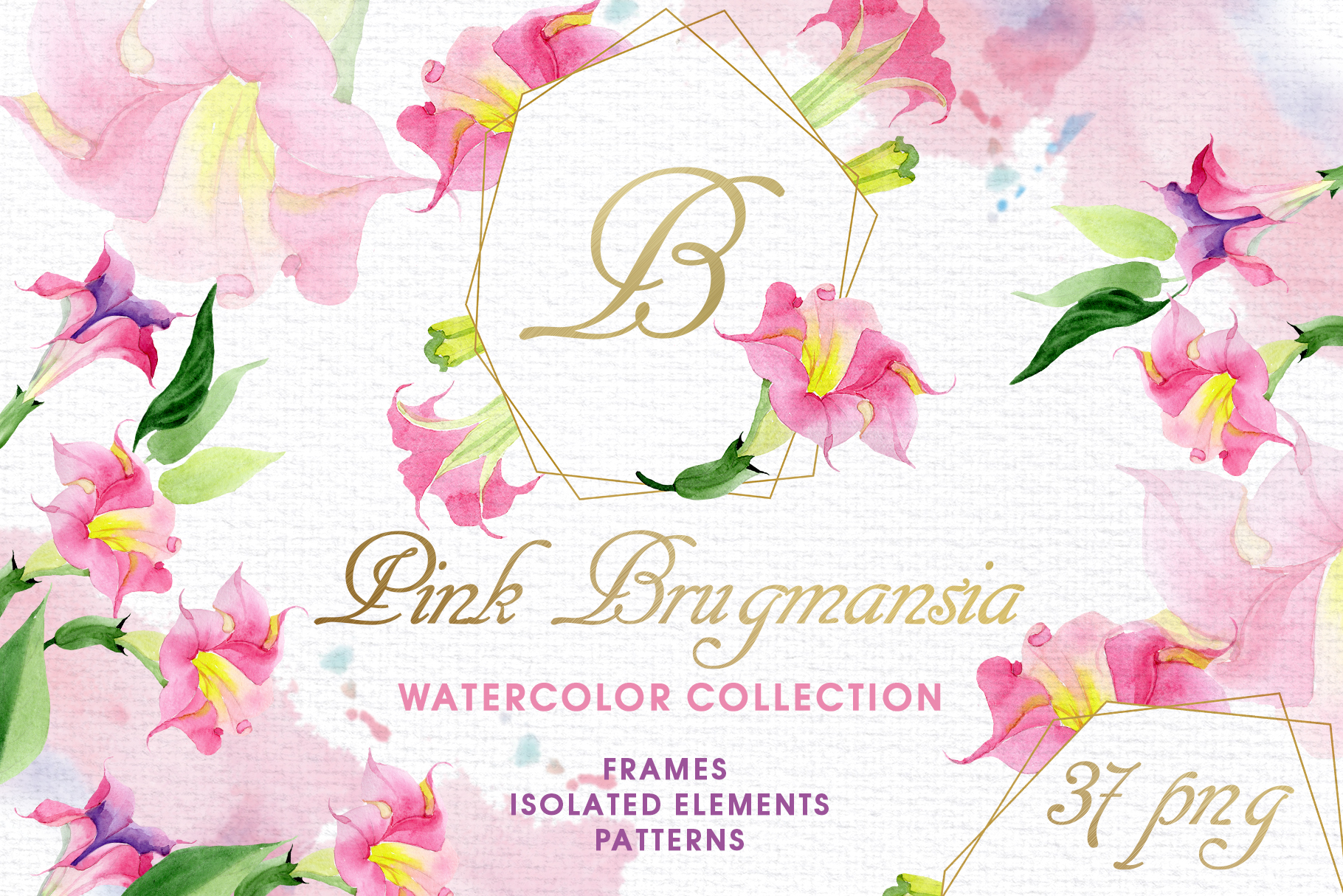 Pink Brugmansia Watercolor png example image 1