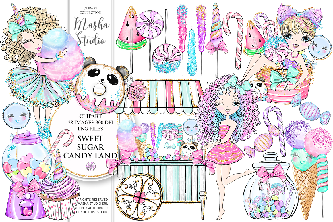 SWEET SUGAR CANDY LAND Clipart example image 1