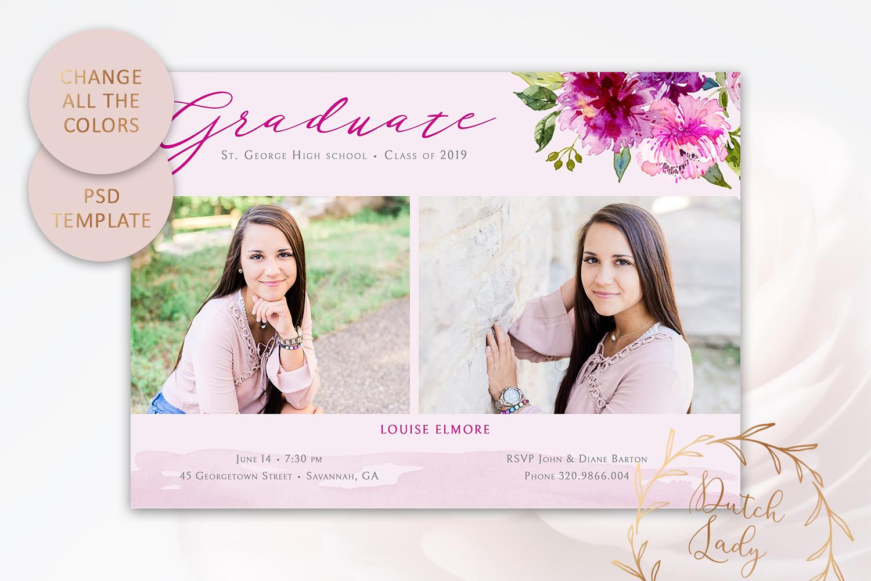 PSD Graduation Announcement Card Template - Design #4 example image 3