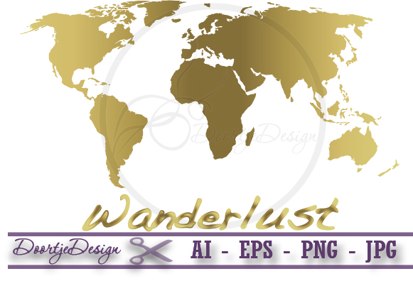 World map gold Vector example image 1