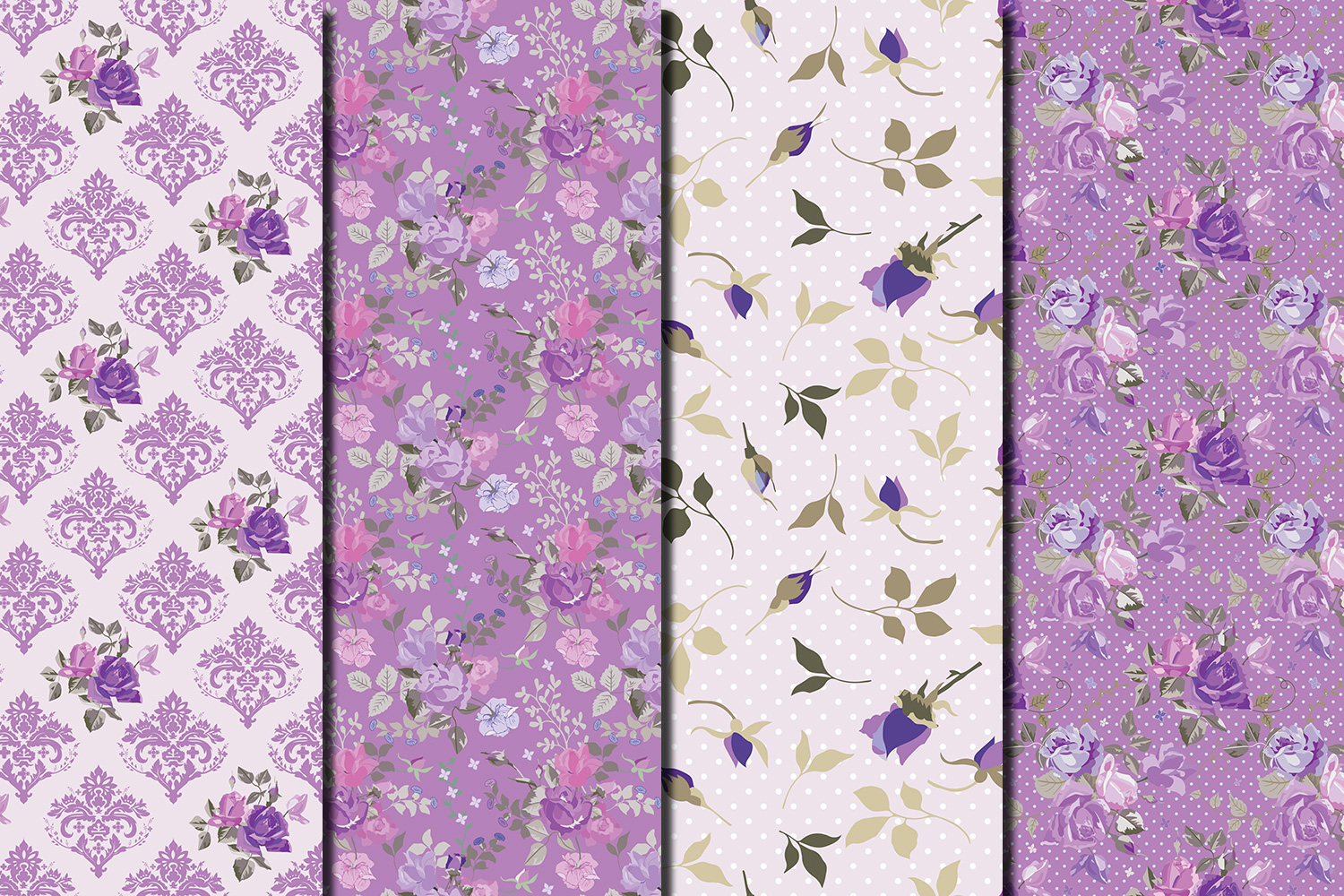 Shabby chic violet roses seamless digital paper pack example image 4