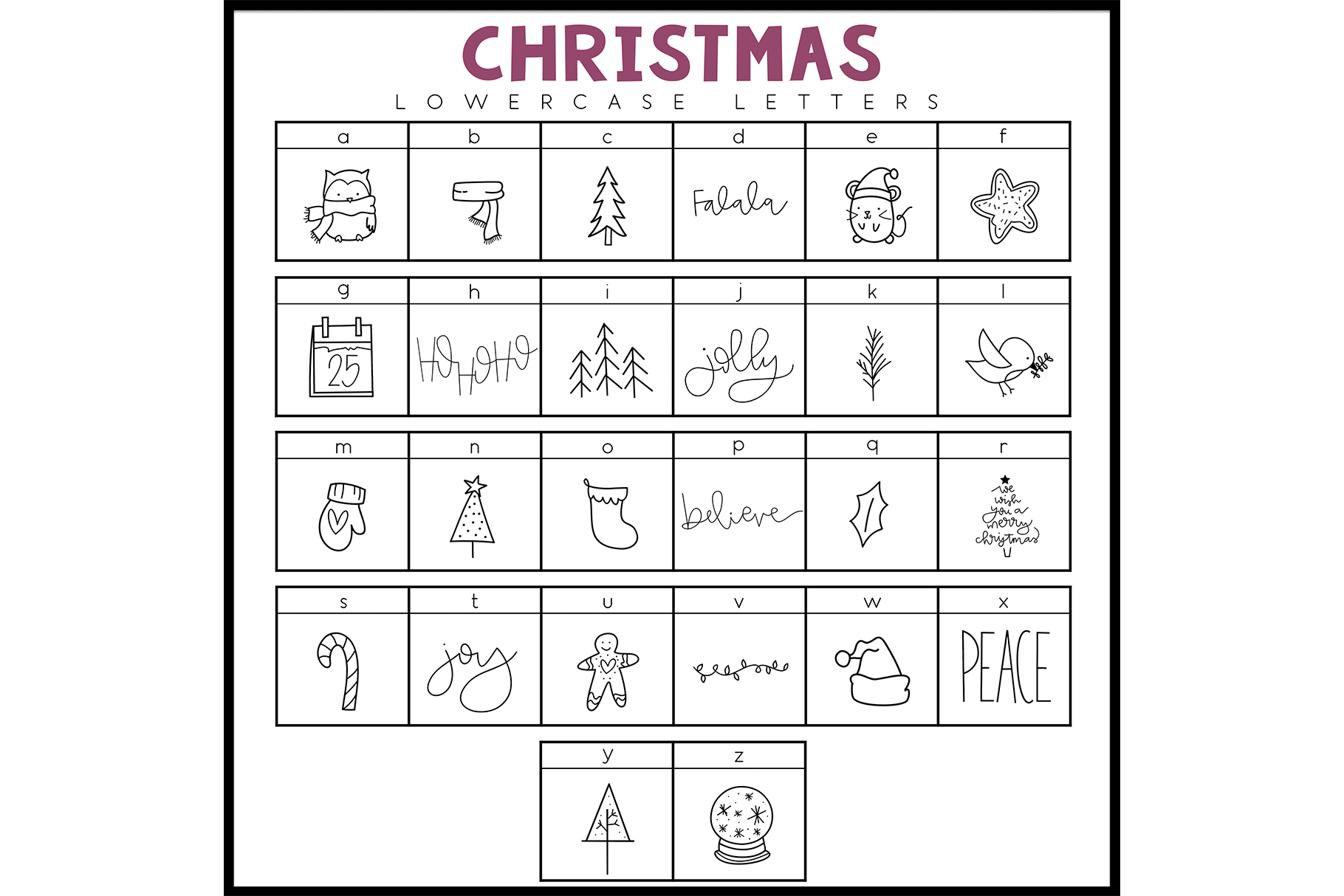 Merry and Bright - A Christmas / Winter Doodles Font example image 2
