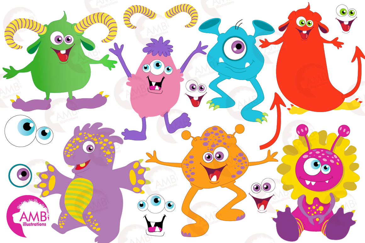 Mini monsters, cute monsters clipart, graphics and illustration AMB-552 example image 3