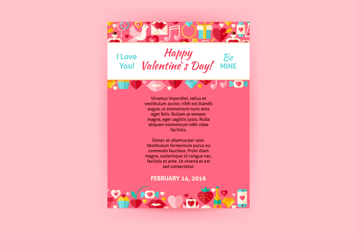 Valentine Day Vector Flat Posters example image 2