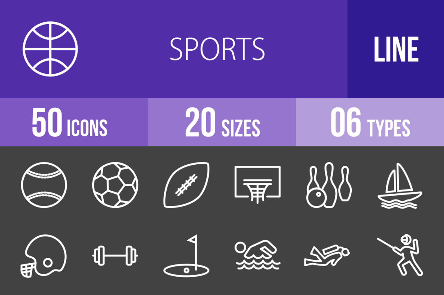50 Sports Line Inverted Icons example image 1