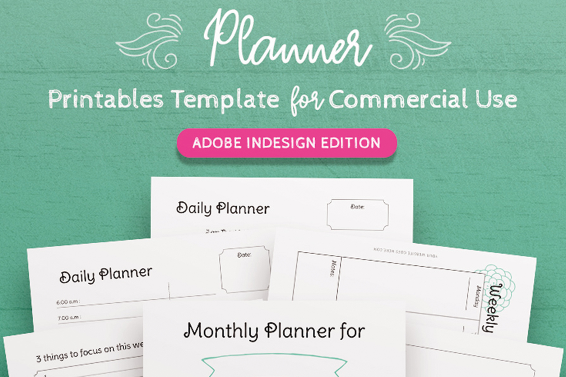 InDesign Planner Template for Commercial Use example image 1