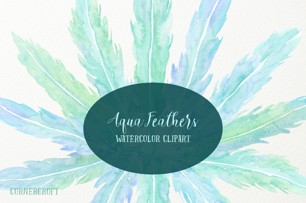 Watercolor Aqua Feathers example image 1