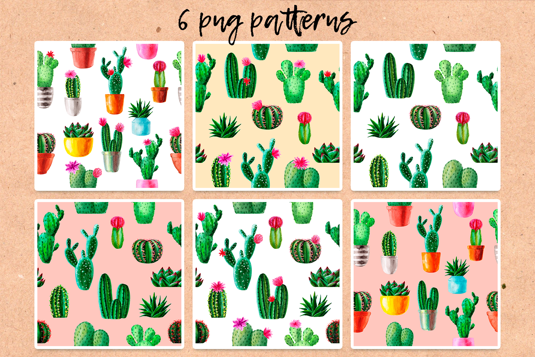 Watercolor Cactus. Cacti Patterns example image 4