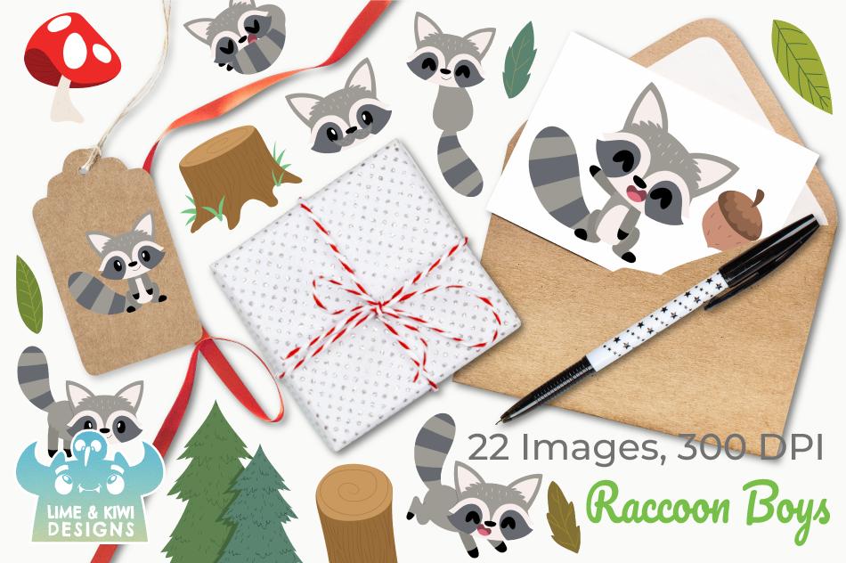 Raccoon Boys Clipart, Instant Download Vector Art example image 4