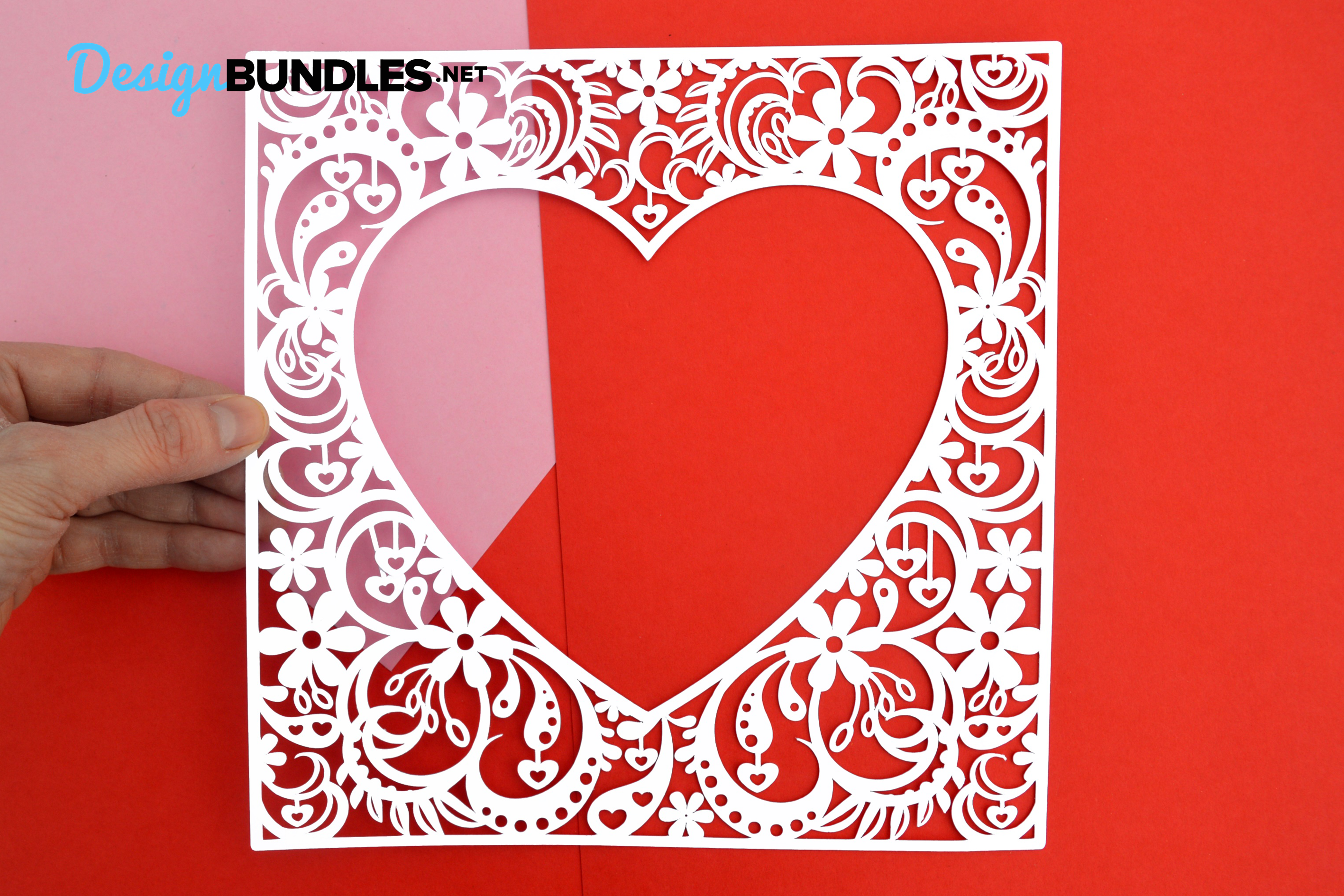Heart frame paper cut design example image 2
