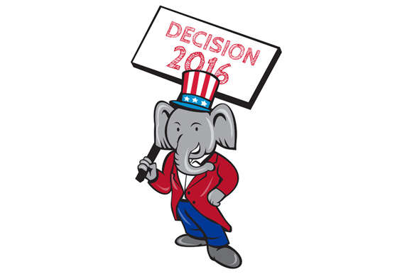Republican Elephant Mascot Decision 2016 Placard Cartoon example image 1