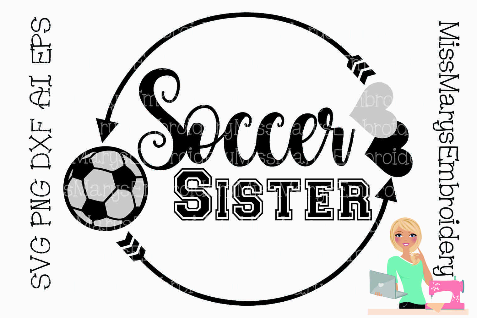 Soccer Sister SVG Cutting File PNG DXF AI EPS example image 1