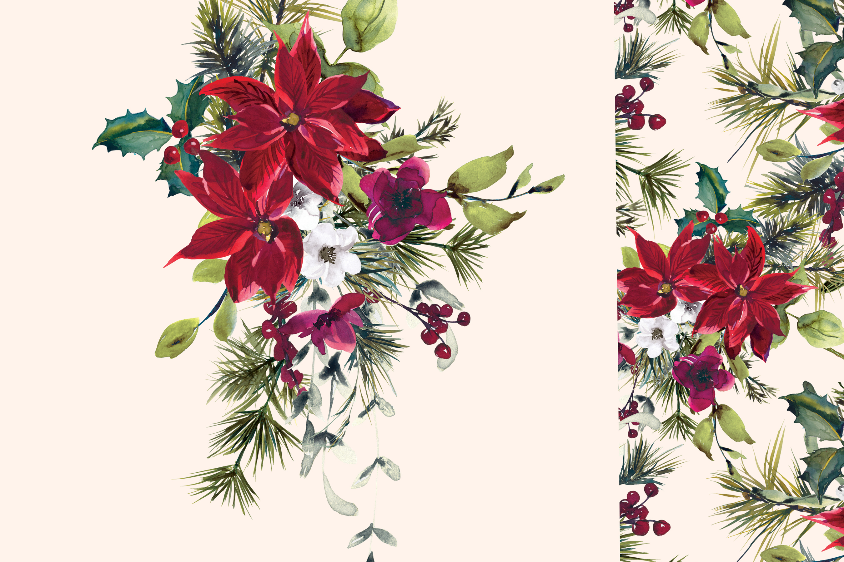Watercolor Poinsettia Christmas Clipart example image 3