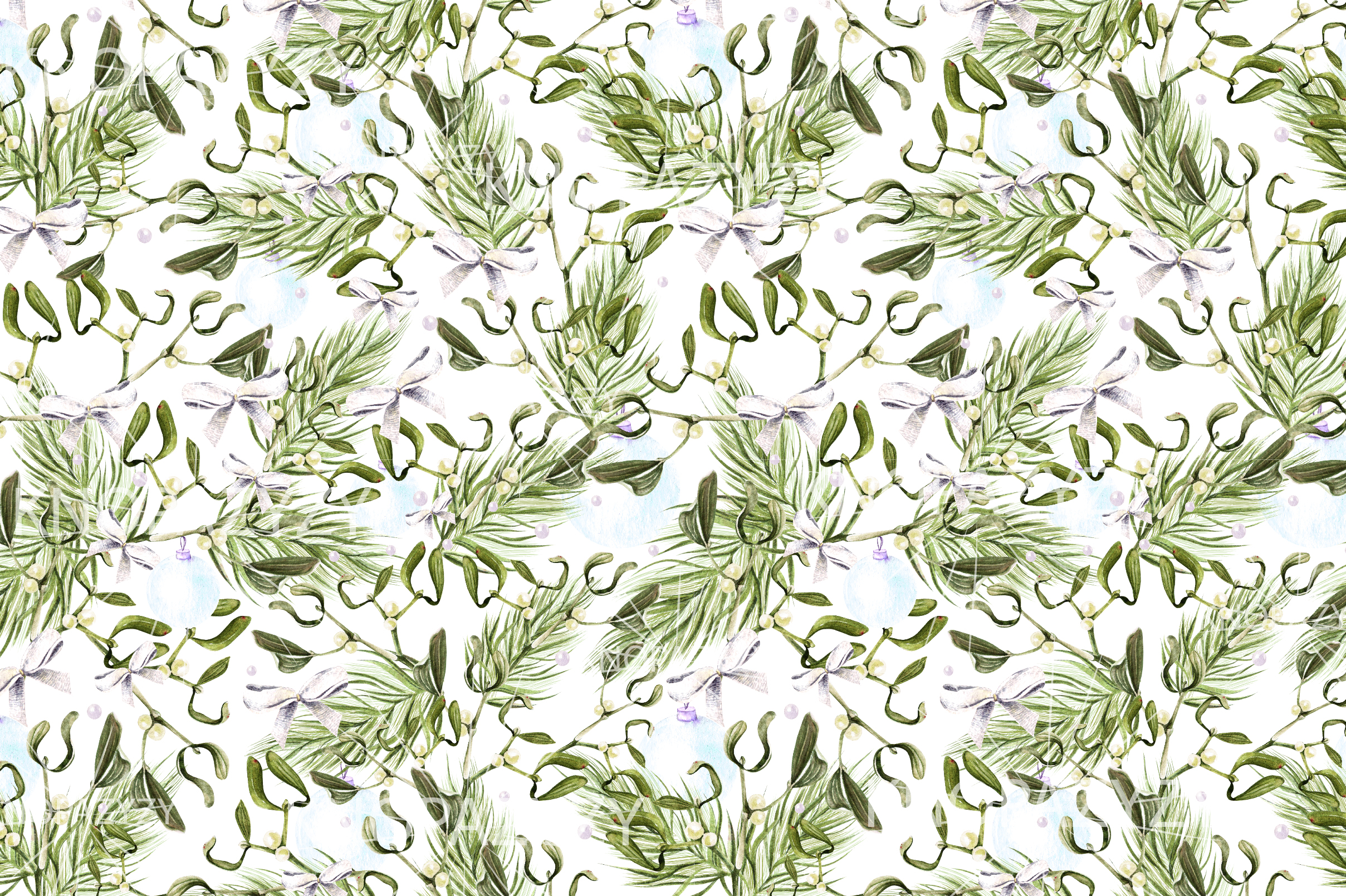 Hand Drawn Watercolor Christmas 13 Patterns example image 2