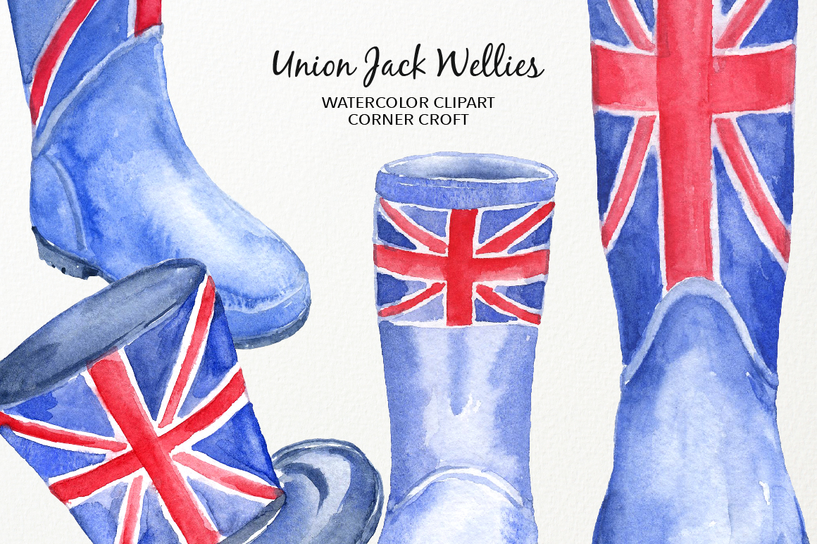 Watercolour Union Jack Welly Illustration, Welly Clipart, Rain Boots  example image 4