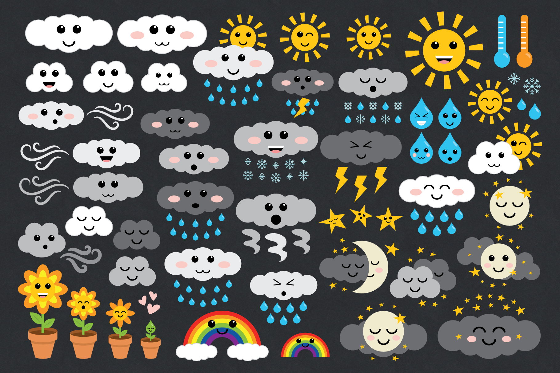 Cute Weather Clip Art Set example image 1