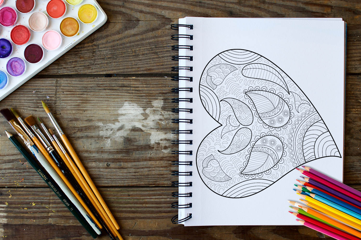 Hearts Coloring Book - 30 Love Coloring Pages example image 3