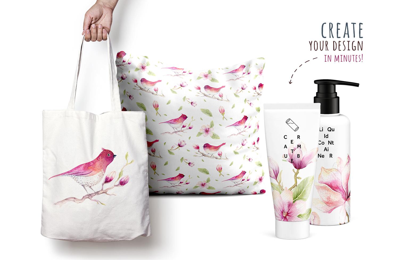 Watercolour magnolia and birds example image 7