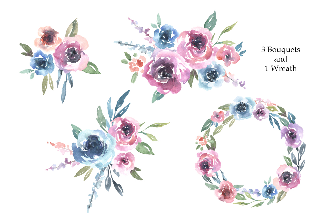 Watercolor Pink Blue Flowers Bouquets Frames example image 3