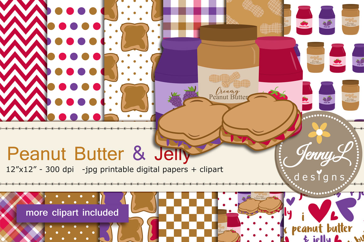 Peanut Butter and Jelly Digital Papers and Jam Clipart example image 1