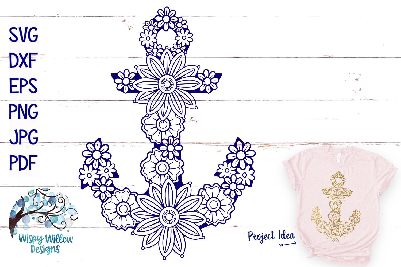 Floral Anchor SVG | Nautical Mandala SVG Cut File example image 1