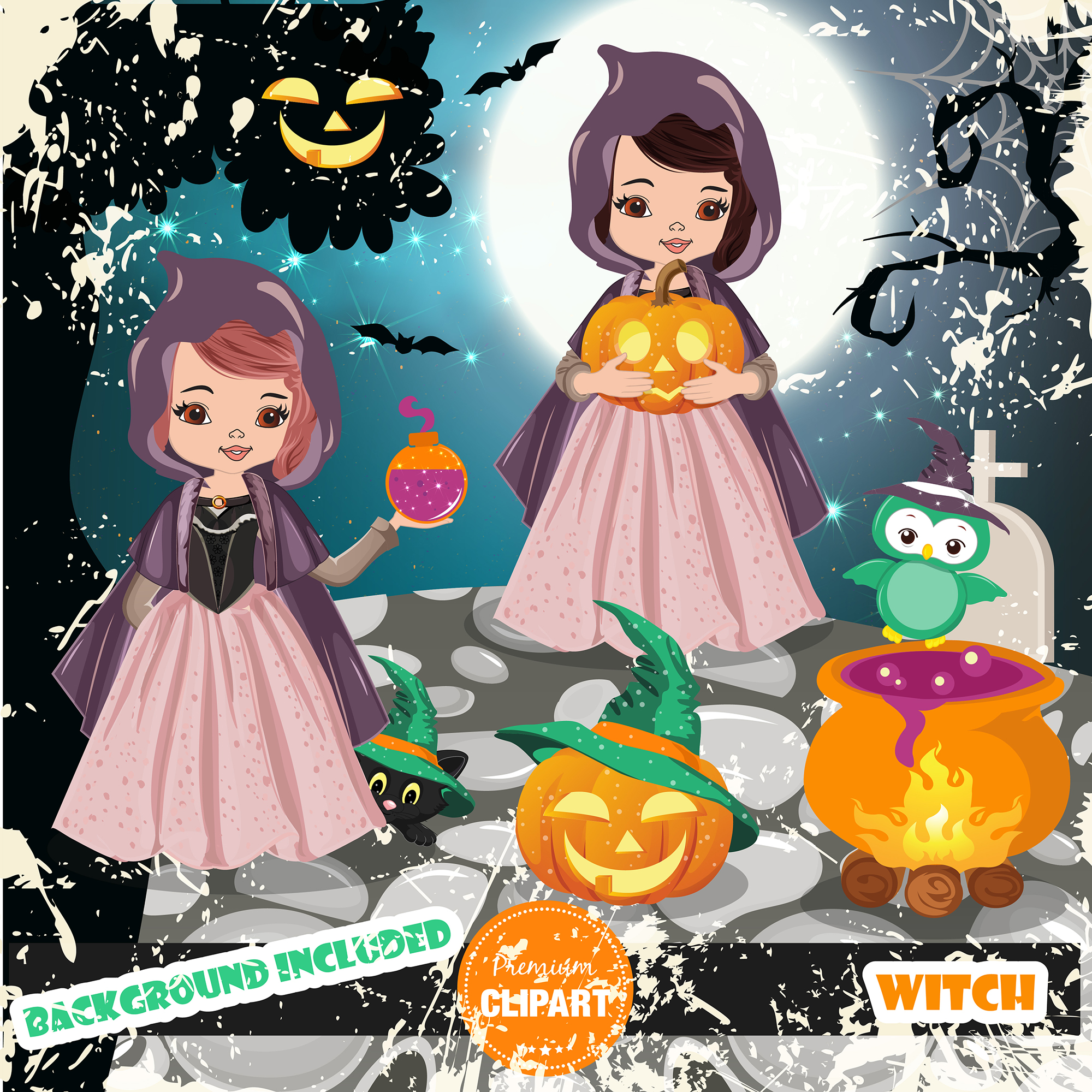 Halloween bundle, Halloween illustrations example image 4