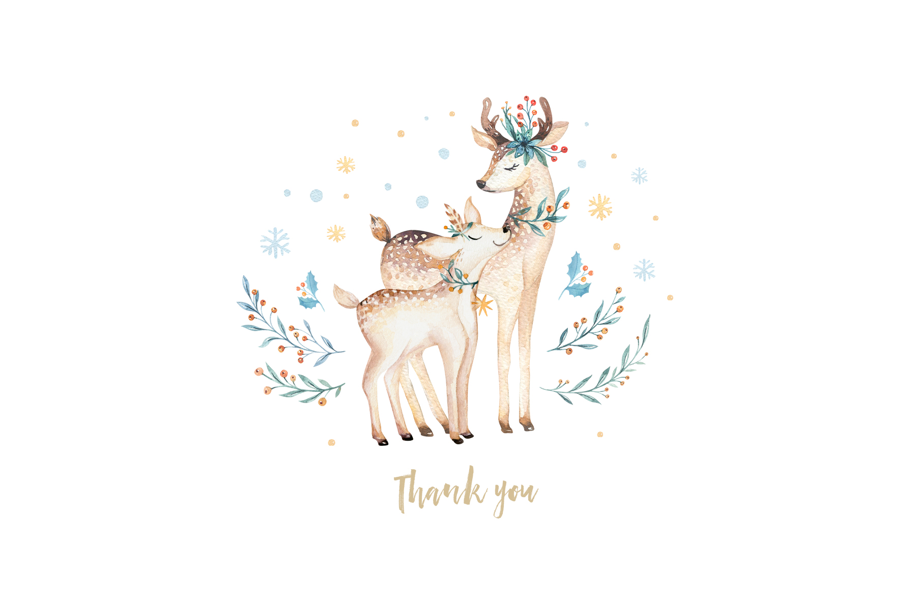 Watercolor Christmas deer example image 11