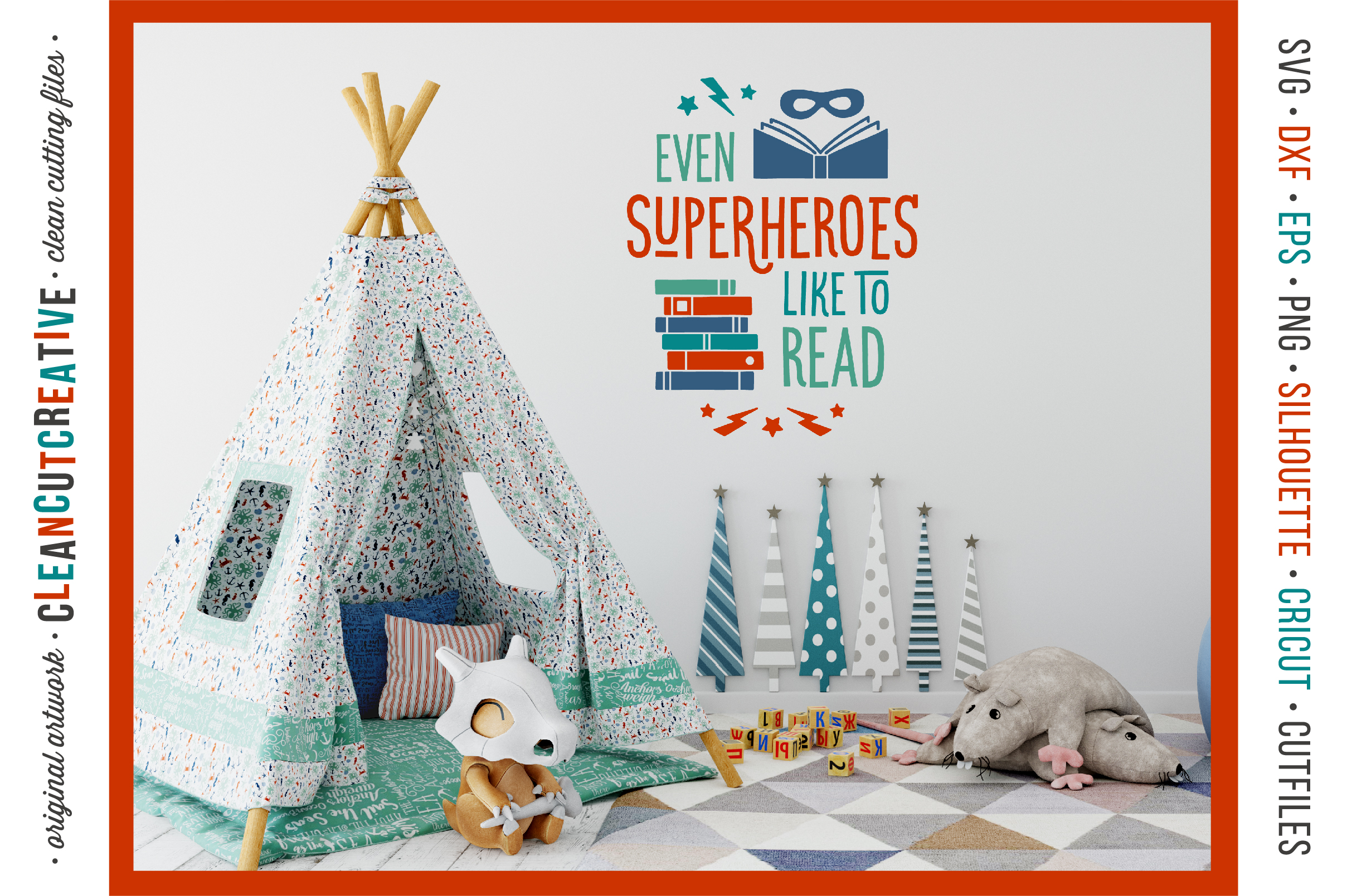 Even SUPERHEROES like to READ! - Cricut Silhouette cut file example image 2