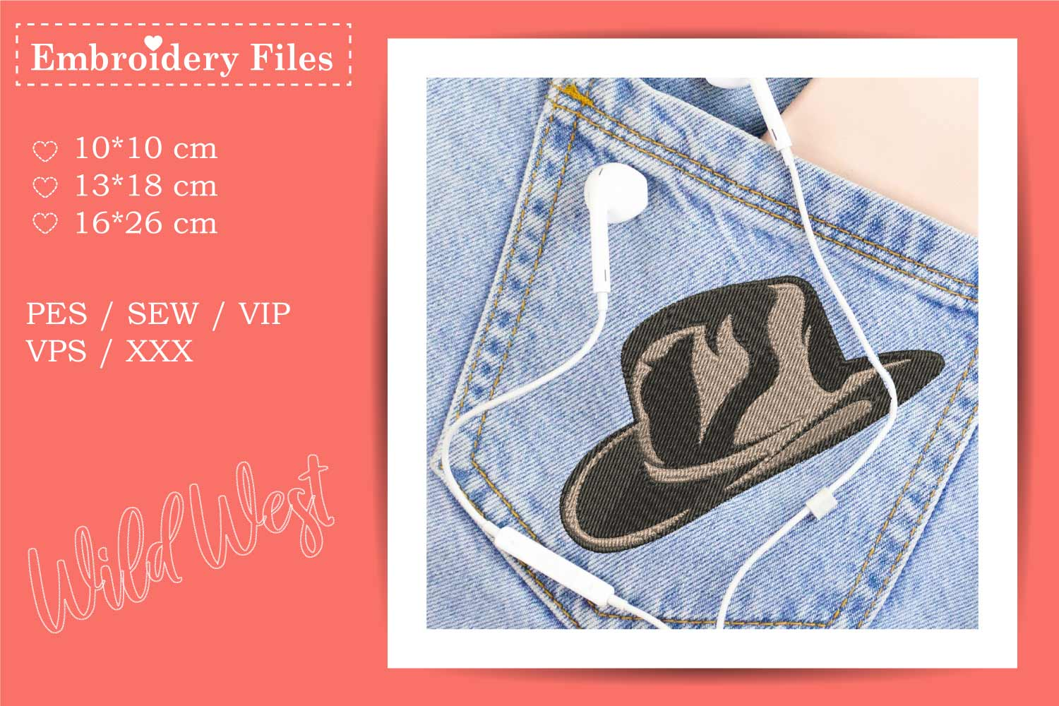 Wild West - Mini Bundle - Embroidery Files for Beginners example image 9
