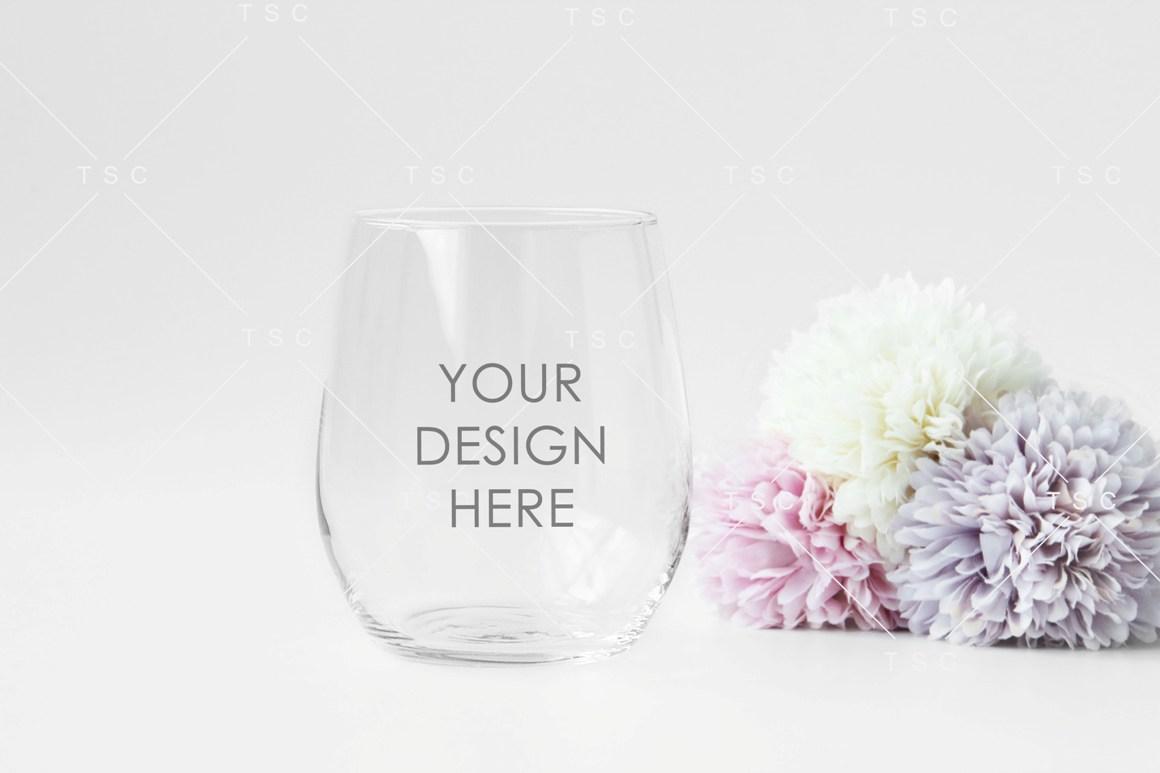 Wine Glass Mockup / Stemless Wine Glass Mockup example image 1
