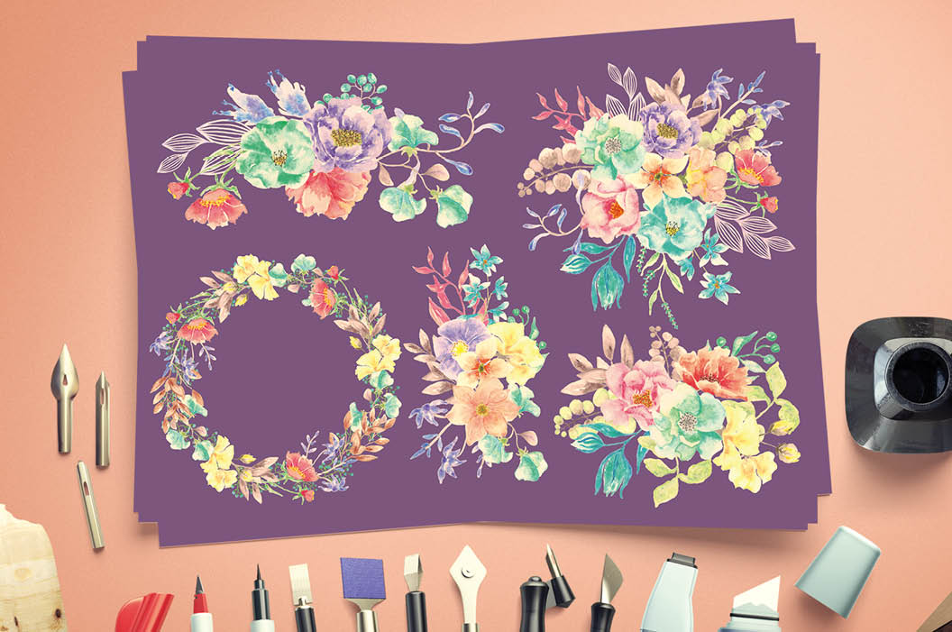 Set of watercolor sprays in spring blooms example image 6