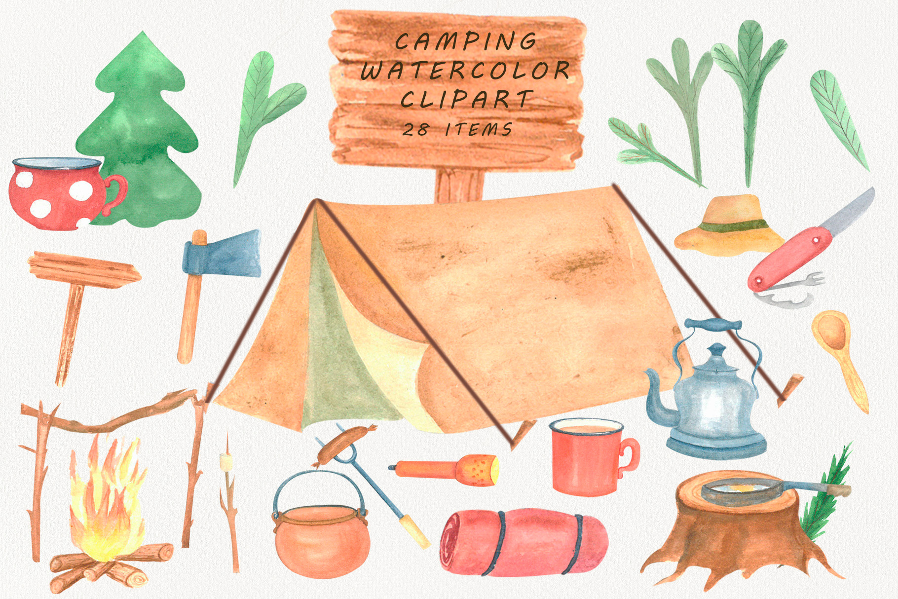 Camping Clipart watercolor example image 1